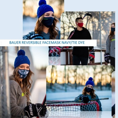 Bauer Reversible Fabric Face Mask Navy /Tye Dye