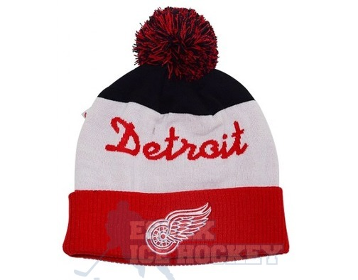 NHL Script Cuffed Pom Hat Detroit Red Wings