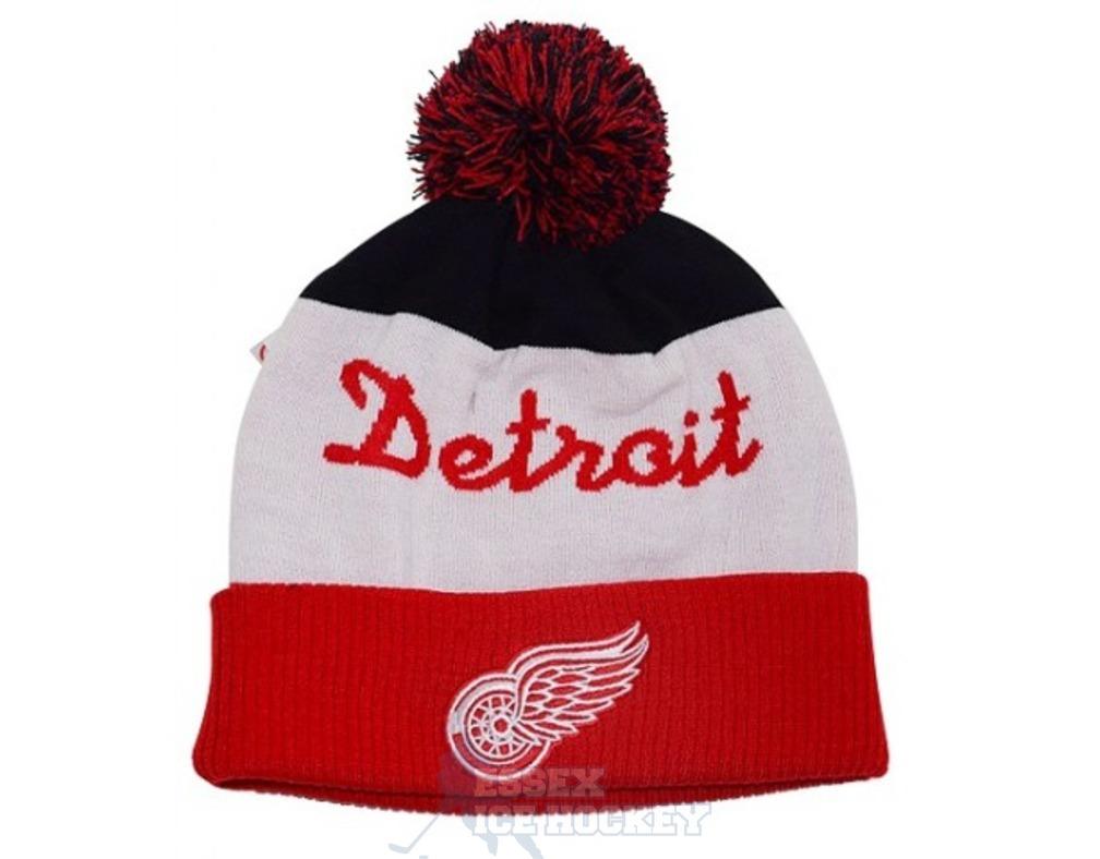 1ba61933de7ce3 NHL Script Cuffed Pom Hat Detroit Red Wings - Essex Ice Hockey